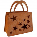 Metal windlight bag star, L40cm, H30cm, rust